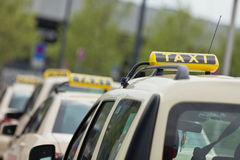 Taxi in jam. A german taxi traffic at berlin Royalty Free Stock Photos