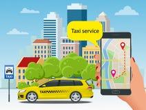 Taxi jaune et application mobile dans le téléphone avec le fond de ville APP mobile pour le service de réservation Vecteur plat Illustration de Vecteur