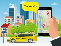 Taxi jaune et application mobile dans le téléphone avec le fond de ville APP mobile pour le service de réservation Vecteur plat Illustration Libre de Droits