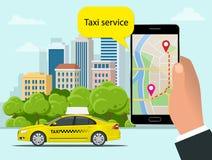 Taxi jaune et application mobile dans le téléphone avec le fond de ville APP mobile pour le service de réservation Vecteur plat Illustration Stock