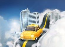 Taxi jaune sur la route dans la ville illustration libre de droits