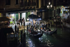 Taxi Kiosk on a venetian Canal, Venice, Italy. Grand canal in Venice, Italy Stock Images