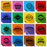 16 taxi labels. With shadow, vector illustration stock illustration