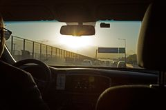 Driving into the Sunrise, Santiago, Chile royalty free stock photo