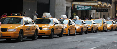 Taxi Line. Yellow Taxi line on 45th St. on broadway,nyc Stock Images