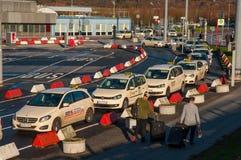 Taxi line at Hamburg airport Stock Photography