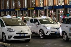 Taxi line up royalty free stock photo