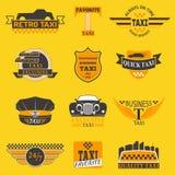 Taxi logów etykietki odznaki wektorowi szablony projektują elementy tekst i wizerunek Taxi poważnego interesu firmy znaka samocho royalty ilustracja
