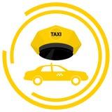 A taxi logo, a taxi driver`s cap and a taxi. Flat design,  illustration Stock Photo