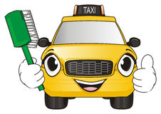 Taxi love washing. Happy face of yellow taxi car hold a brash and show gesture class Stock Photo