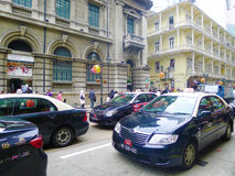 Taxi in macao. Old street, at the Historic Centre of Macao Stock Photography