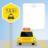 Taxi med tecknet, Front View Vektor Illustrationer