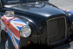 Taxi met Union Jack royalty-vrije stock foto