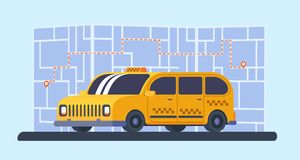 Taxi minivan car with map and way on background. Geolocation marker with route. Yellow taxi car with map on background. Geolocation marker with route. Service Stock Images