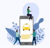 Taxi, mobiel stadsvervoer vector illustratie