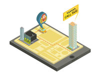 Taxi Mobile Service Isometric Illustration Stock Images