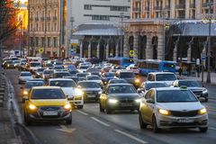Taxi on Moscow street stock photography