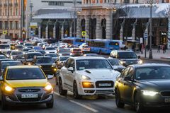 taxi on Moscow street stock image