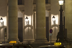 Taxi in Munich downtown at night Royalty Free Stock Images