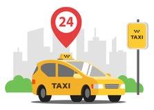 Taxi na ca?? dob? parkuje w tle miasto ilustracji