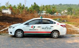 Taxi na ulicznym Wietnam obraz stock