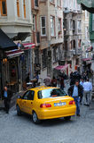 Taxi in Narrow Street in Istanbul Royalty Free Stock Photo