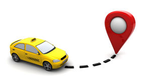 Taxi navigation. 3d illustration of taxi car and target point marker, over white background Royalty Free Stock Photos