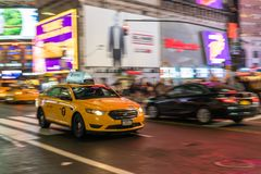 Taxi in NYC Rush stock image