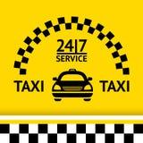 Taxi o símbolo, e o carro no fundo Fotografia de Stock