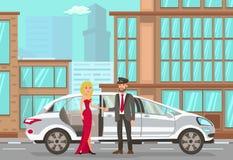 Taxi och chaufför Services Plan illustration för vektor royaltyfri illustrationer