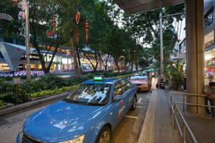 Taxi on Orchard Road in Singapore Stock Image