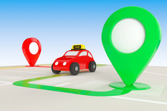 Taxi Order Concept. Toy Taxi from above of Abstract Navigation M royalty free illustration