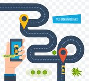 Taxi order service. Online taxi order, call by phone, application. Taxi order service. Online taxi order, call by phone, mobile application. Road map with vector illustration