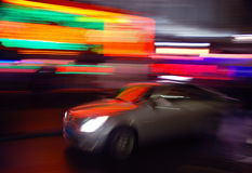 Taxi. Panning taxi: night traffic and city lights Amsterdam, city stock photo