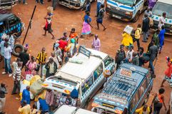 Taxi Park in Kampala, Uganda. Aerial view of old taxi park, or mini-bus station, Kampala, Uganda Royalty Free Stock Image