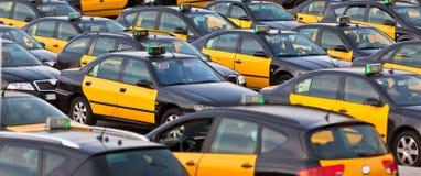 Taxi parking. Vacant taxi parking, Barcelona, Spain. Horizontal shot stock photo
