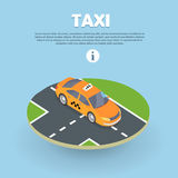 Taxi on Part of Road Isometric Web Banner. Vector Stock Images