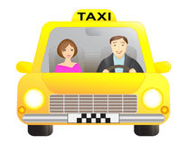Taxi and passenger. Taxi car with driver and passenger, isolated Royalty Free Stock Photo