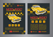 Taxi pickup service design layout templates. A4 call taxi concept flyer. royalty free illustration