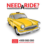 Taxi pickup service. Yellow taxi car. Royalty Free Stock Photography