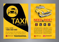 Taxi pickup usługa projekta układu szablony A4 wezwania taxi pojęcia ulotka Zdjęcia Stock