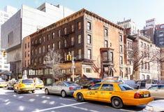 Taxi, pictogram van de stad in een opstopping Stock Afbeeldingen