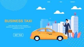 Taxi plano del negocio de la bandera Automóvil moderno libre illustration