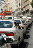 Taxi in private line. Rush hour in Madrid with a lot of taxi waiting to go stock photos