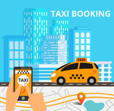 Taxi public sur la ligne service, application mobile Carte de navigation Images stock