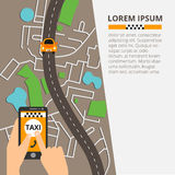 Taxi public sur la ligne service, application mobile Carte de navigation Photos libres de droits