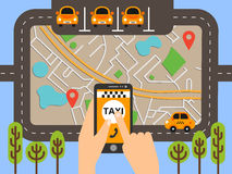 Taxi public sur la ligne service, application mobile Carte de navigation Images libres de droits