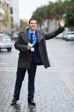 Taxi que espera del periodista Foto de archivo libre de regalías