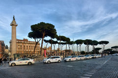 Taxi queue in Rome Piazza Venezi Royalty Free Stock Images