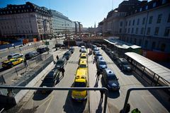 Taxi queue. Taxis queueing outside Stockholm central station Stock Photos